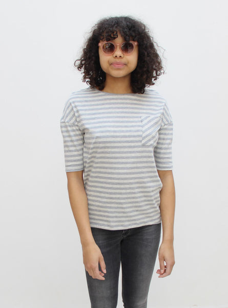 Organic cotton jersey t-shirt - grey melange stripe