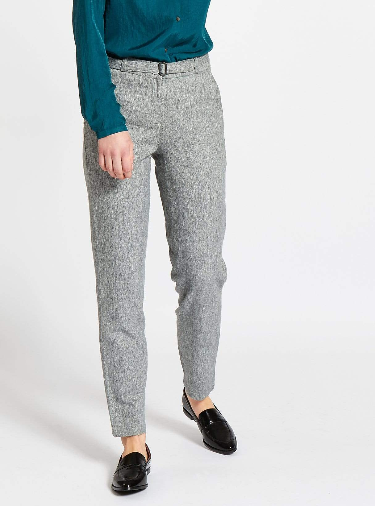 Belted formal cotton trousers - grey/green melange