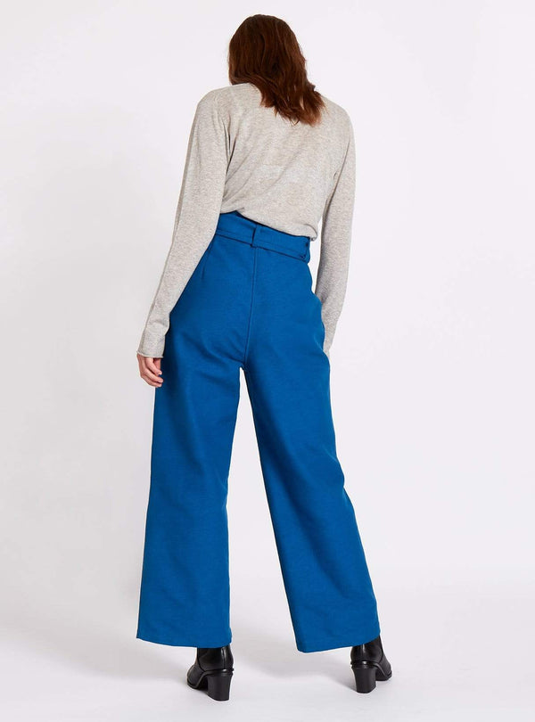 studio JUX trouser Belted wide leg handwoven trousers - royal blue