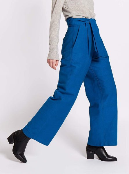Belted wide leg handwoven trousers - royal blue