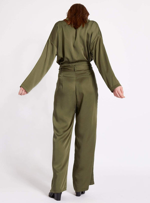 studio JUX trouser Belted wide leg tencel trousers - olive