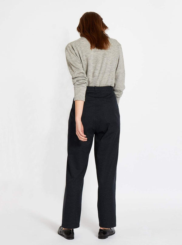 studio JUX trouser High waisted twill trouser - dark blue