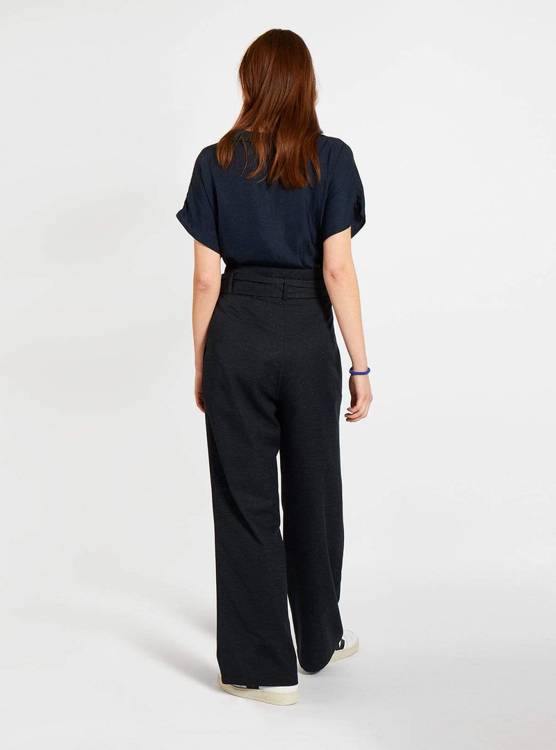 studio JUX trouser Mixed twill - wide leg trouser - dark blue