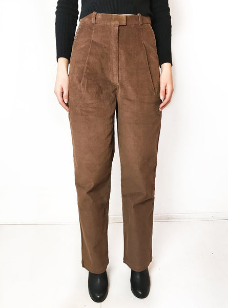 Corduroy high waist trousers - artisian brown