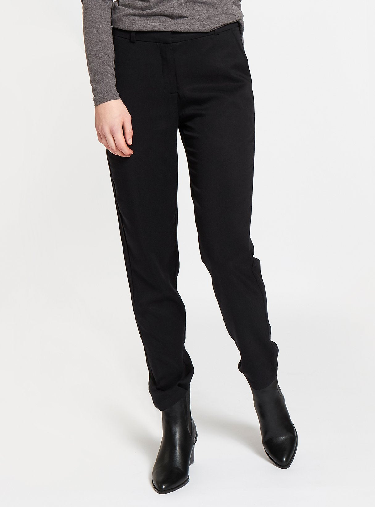 Thick tencel formal trousers - black