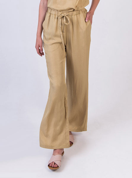 Wide leg trousers - golden mist