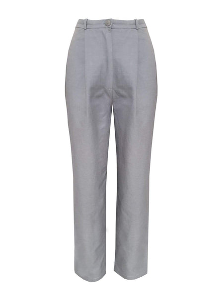 High waisted pleated trousers - blue grey