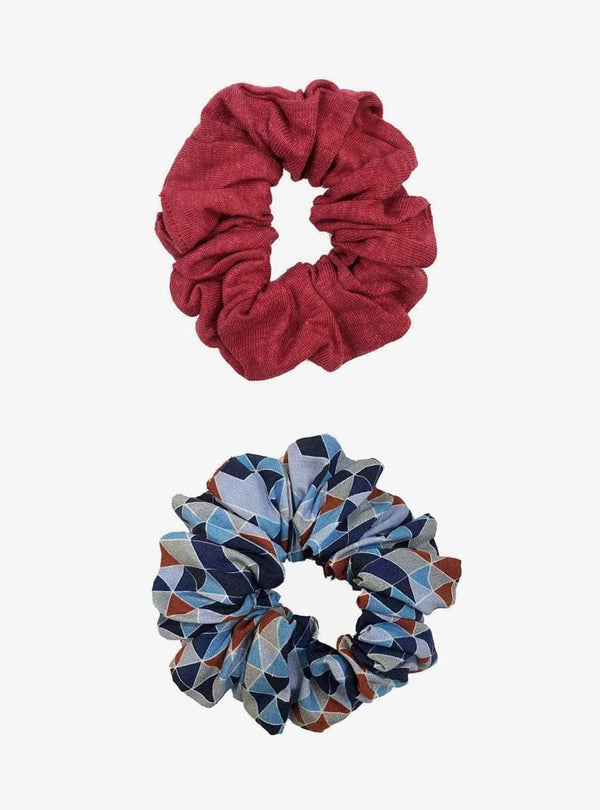studio JUX Womens accessories Two pack scrunchie set - blue print/red