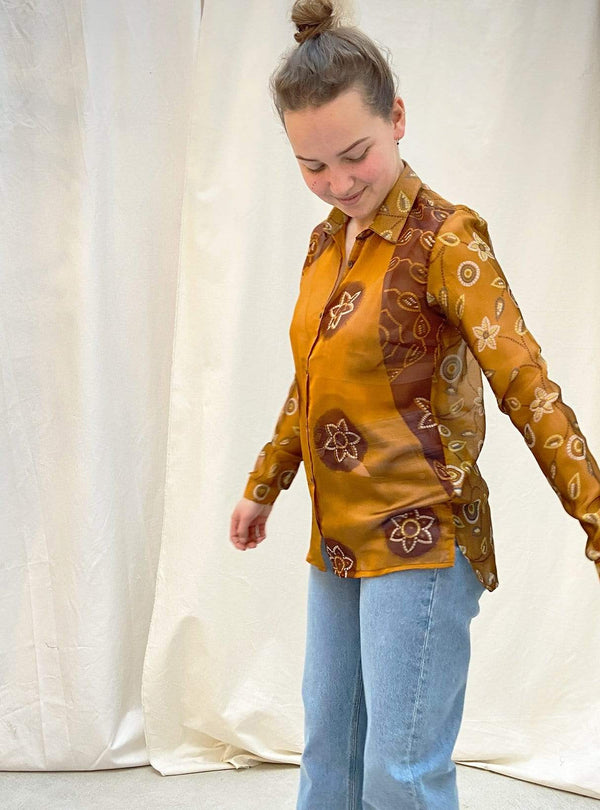 studio JUX Womens blouses 36 Bim - upcycled relaxed blouse - orange - size 36