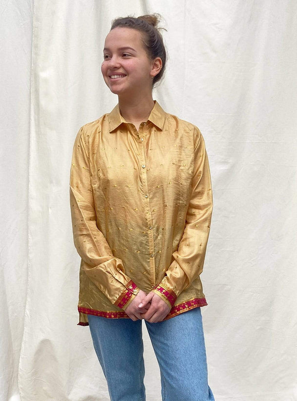 studio JUX Womens blouses 40 Bim - upcycled relaxed blouse - yellow - size 40