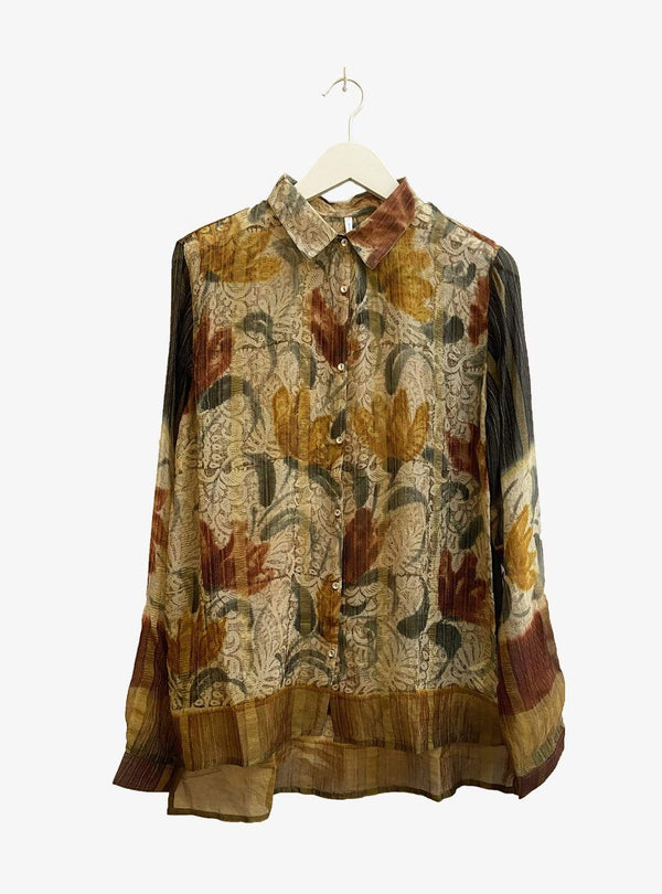 studio JUX Womens blouses 42 Upcycled relaxed blouse - autumn hues