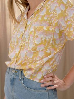 studio JUX Womens blouses Relaxed fit vegan silk blouse - summer flower