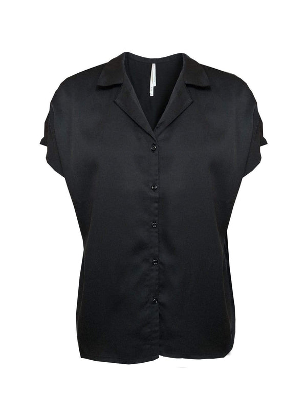 studio JUX Womens blouses Tencel twill blouse - black