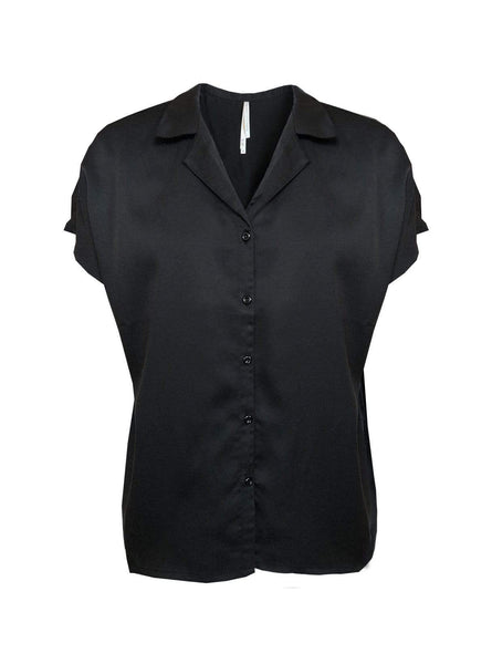 Tencel twill - short sleeve blouse - black