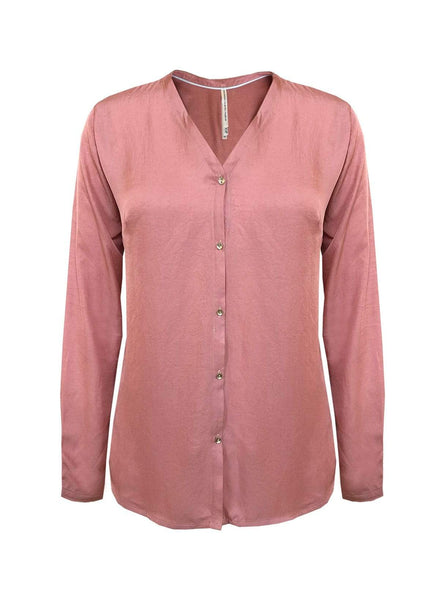 Vegan silk blouse - coral