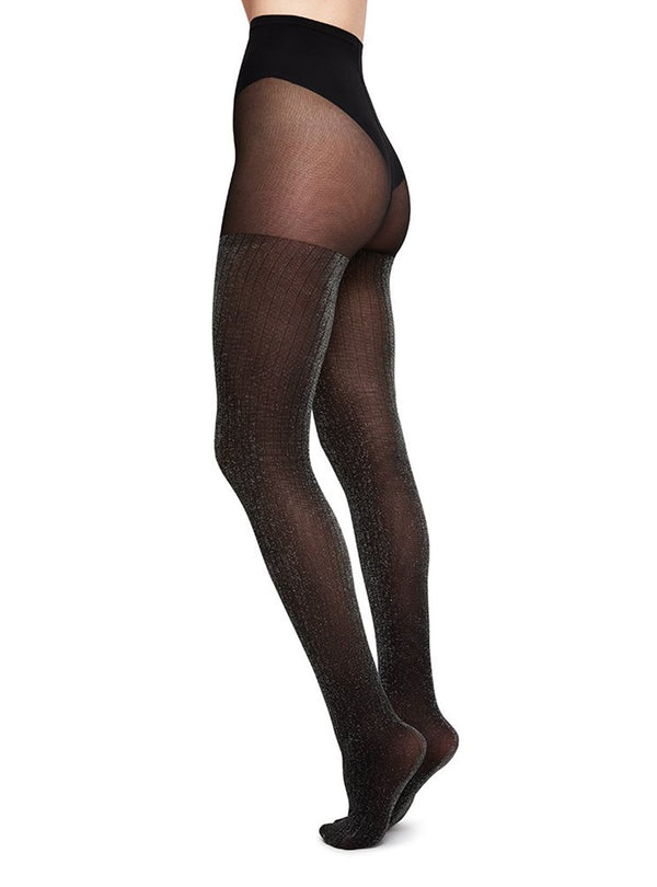 Swedish stockings stockings S Lisa lurex rib - stockings 40 den - black