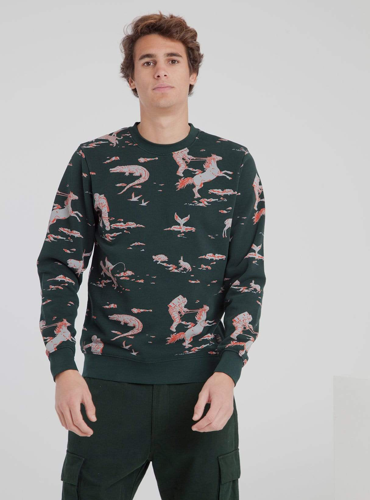 Space rider - sweatshirt - scarab green