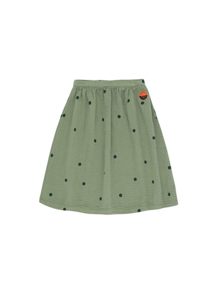 Dots sunset - long skirt - green wood/bottle green