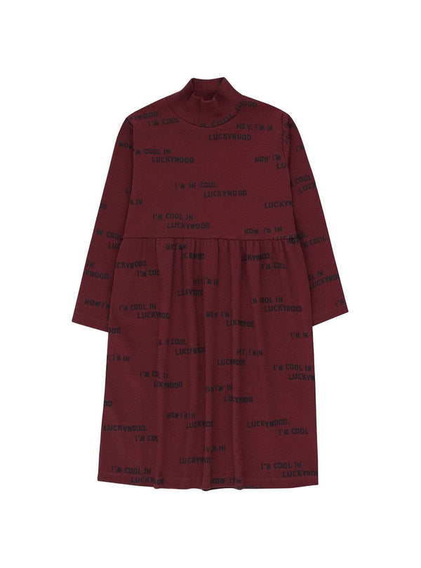 Tinycottons baby 2y Luckywood sign - dress - aubergine/true navy