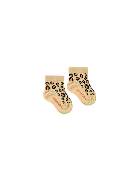 Animal pattern - quarter baby socks - sand/brown