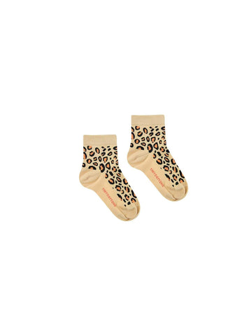Animal pattern - quarter kids socks - sand/brown