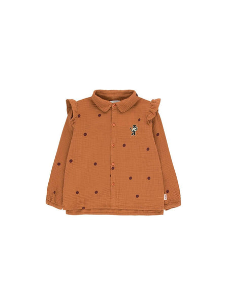 Dots cat - shirt - brown/aubergine
