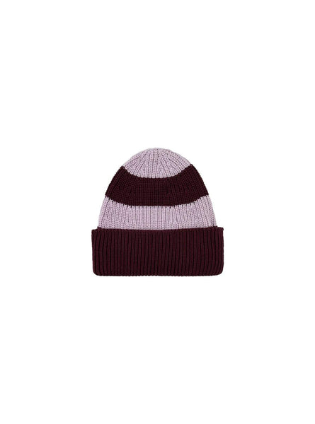 Stripes - beanie - aubergine/light lilac