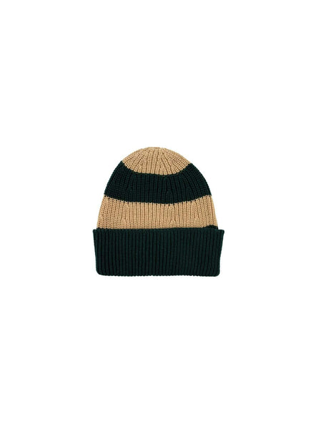 Stripes - beanie - bottle green/sand