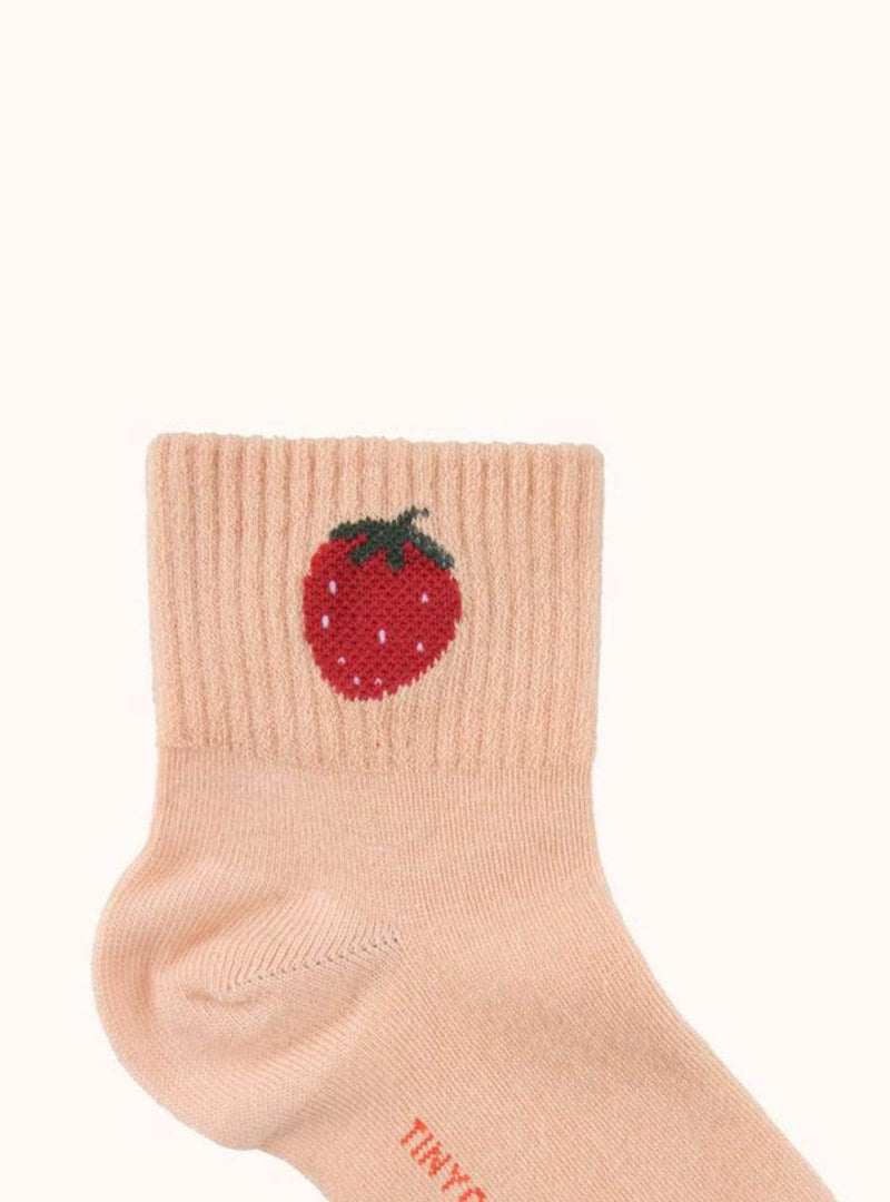 tinycottons Kids accessories 4y Strawberry - quarter socks - light nude/burgundy