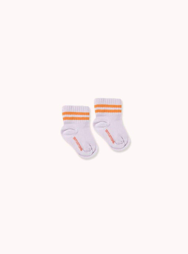 tinycottons Kids accessories Stripes - quarter socks - light lilac/brick