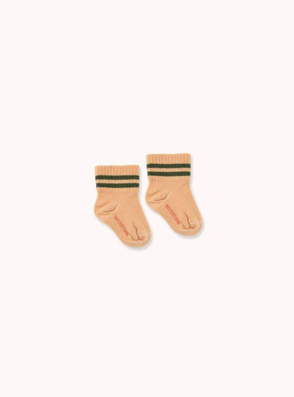 tinycottons Kids accessories Stripes - quarter socks - toffee/olive dark green