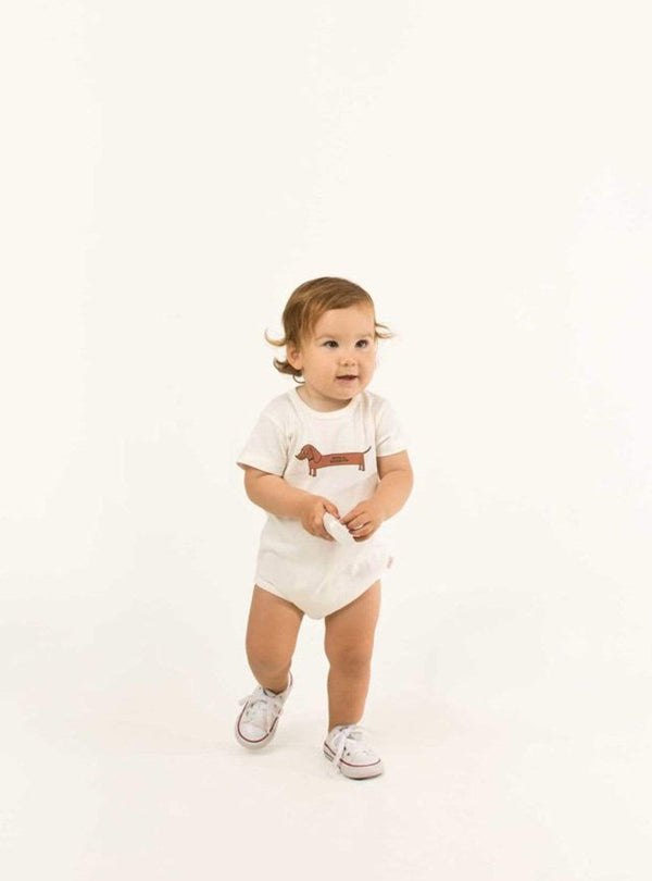 tinycottons Kids bodies Otto il bassotto - body - off-white/cinnamon
