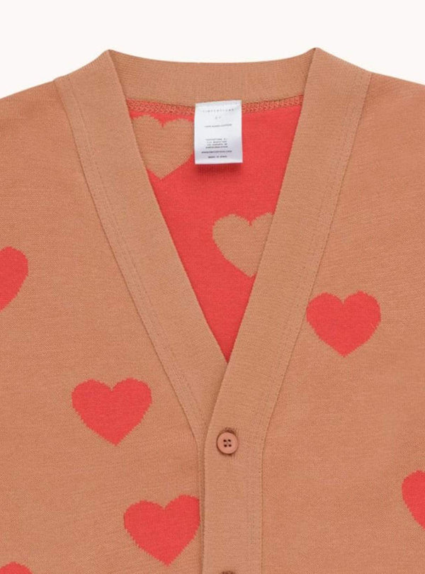 Hearts - cardigan - tan/red
