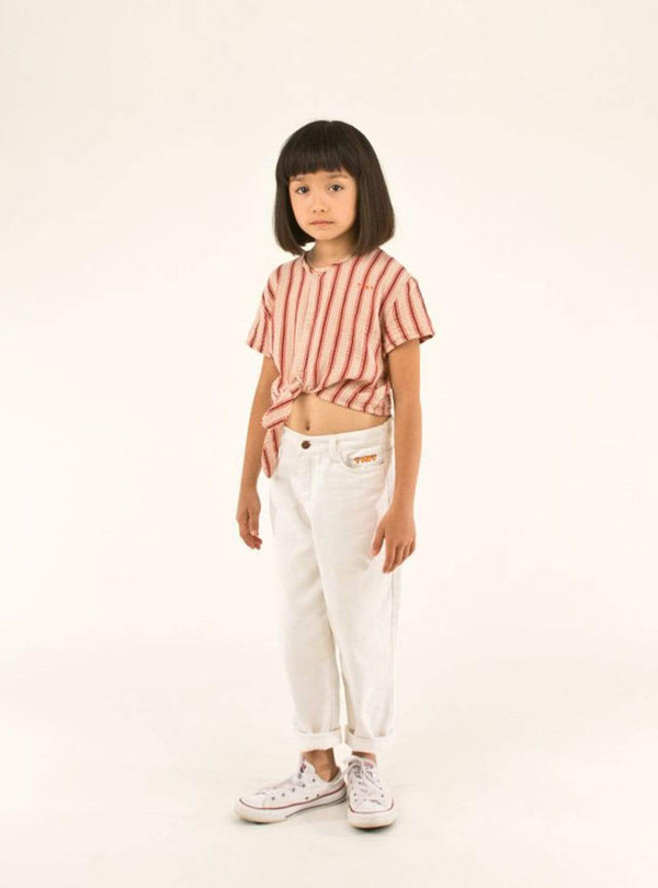tinycottons Kids tops Retro stripes - tie front top - light nude/dark brown