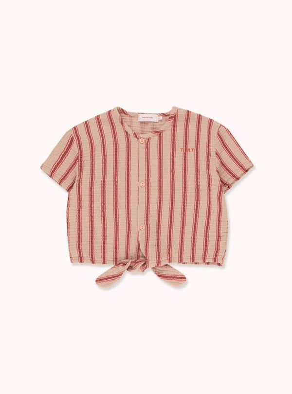 Retro stripes - tie front top - light nude/dark brown