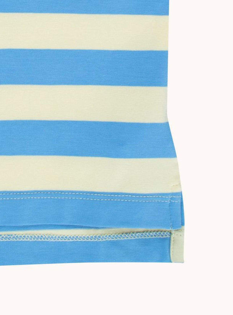 Tiny stripes - tee - lemonade/cerulean blue