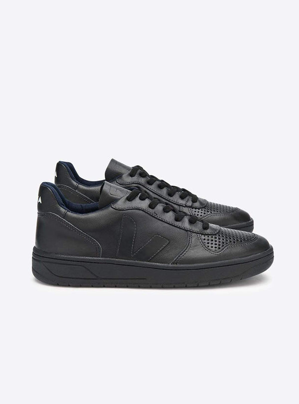 VEJA Womens shoes V-10 leather sneaker - full black