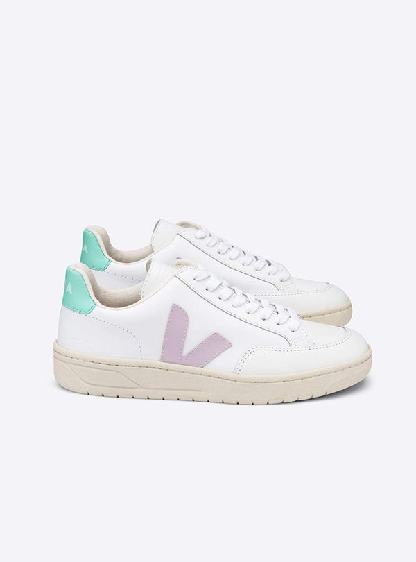 VEJA Womens shoes V-12 leather sneaker - extra-white/parme turquoise