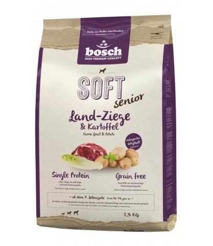 BOSCH HIGH PREMIUM SOFT SENIOR FARM GOAT & POTATO - GRAIN FREE DRY DOG FOOD 2.5KG