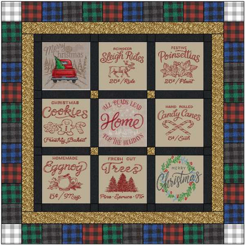 Quilt Kit Country Christmas//Pre Cut Ready to Sew//Finished Embroidery