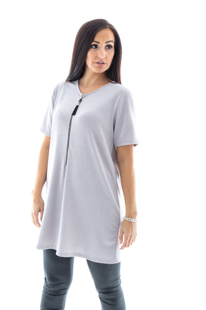 Melody Metallic Zip Tunic - Tilletts Clothing (4020336787569)