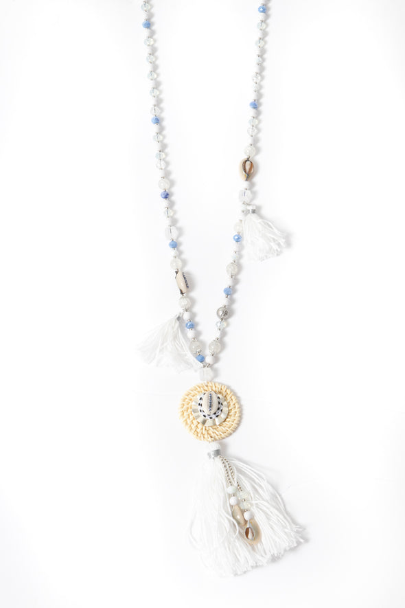 Shanni Sparkle Shell Tassel Necklace