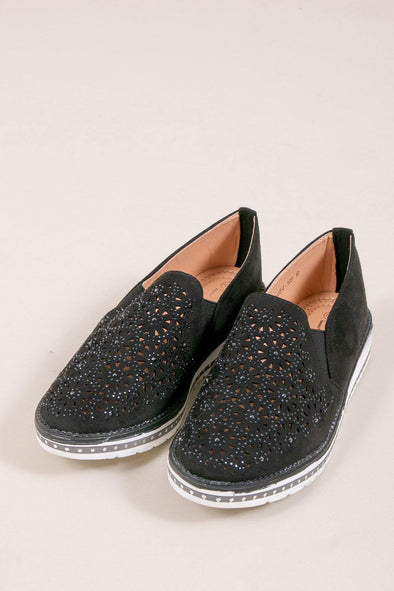 Flower Sparkle Slip On - Black