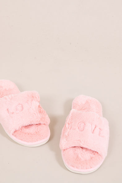 Love Is All Around Slippers - Pink