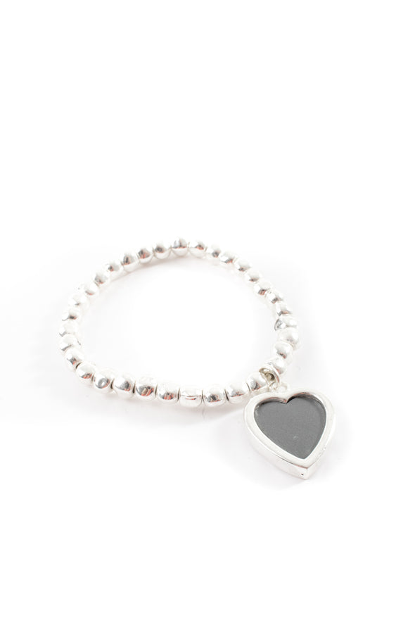 Grey Heart Charm Bracelet - Tilletts Clothing (4035179118705)