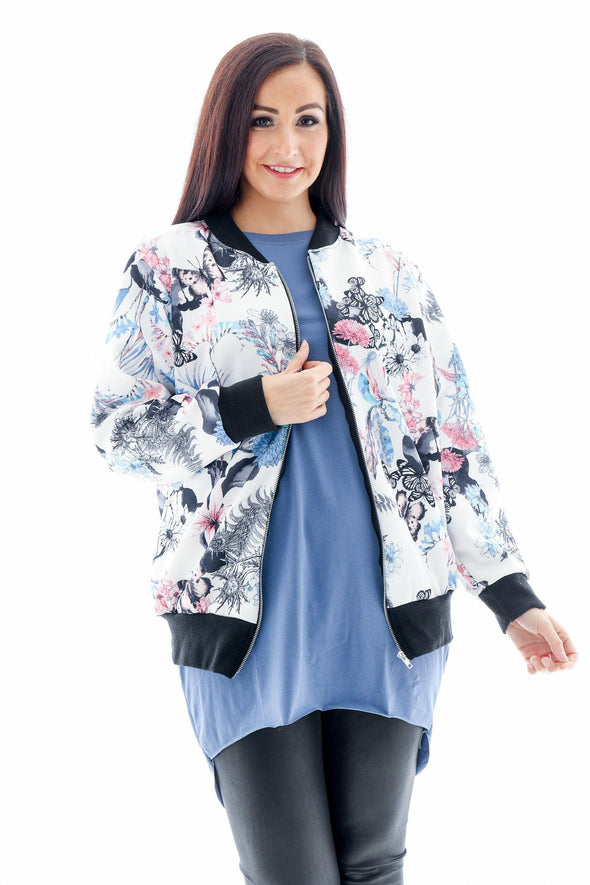 Floral Butterfly Bomber Jacket
