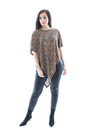 Ebony Mini Leopard Poncho Top