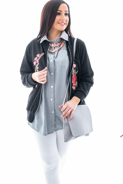 Ella Applique Bomber Jacket