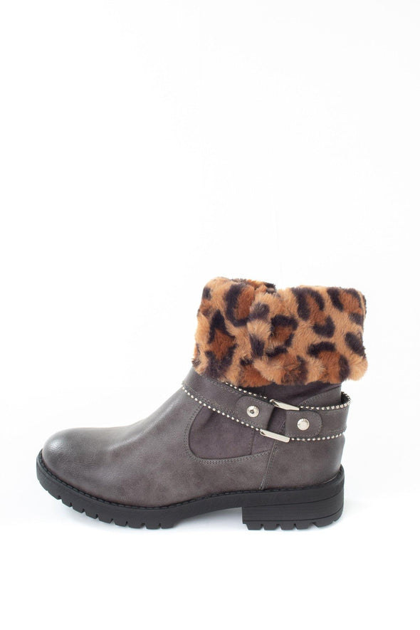 Leopard Trim Biker Boot - Tilletts Clothing (4075408949361)