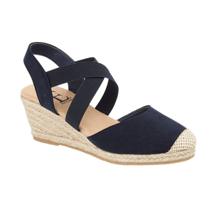 Ebony Wedge Sandal - Navy